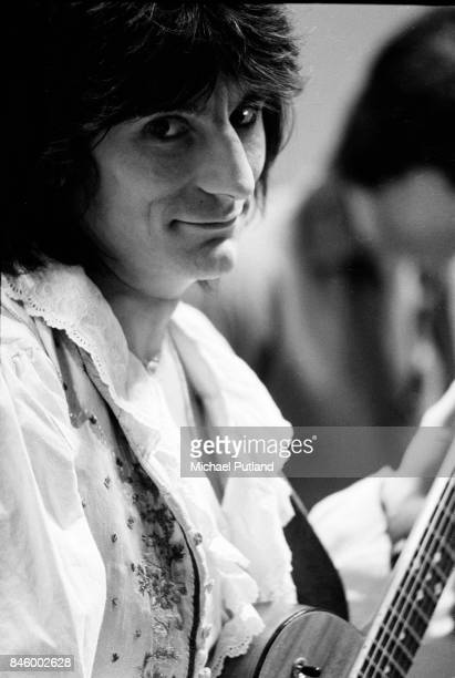 Portrait of guitarist Ronnie Wood of the Rolling Stones on set during the production of the music video for 'Respectable' in New York May 1978