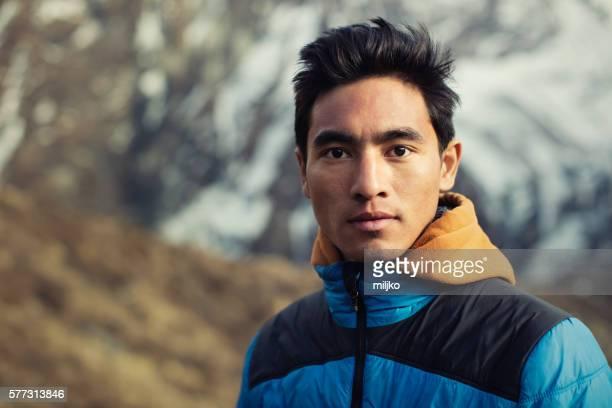 Portrait of Gurkha man from Nepal Himalayas