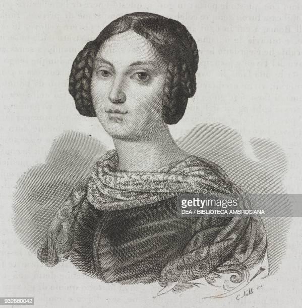 Portrait of Gwendolyn Talbot Princess Borghese engraving from L'album giornale letterario e di belle arti November 14 Year 7