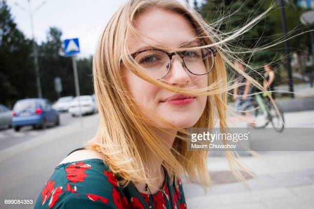 portrait of hair of caucasian woman blowing in wind - femme russe photos et images de collection