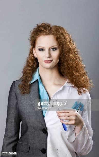 Portrait of half chemist and half businwsswoman