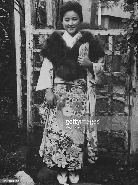 Portrait of Hanako Tsugaru wearing a traditional kimono and a fur shawl following the announcement of her engagement to Prince Yoshi of Japan 1962