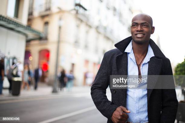 portrait of handsome african man. - nigerian men stock photos and pictures