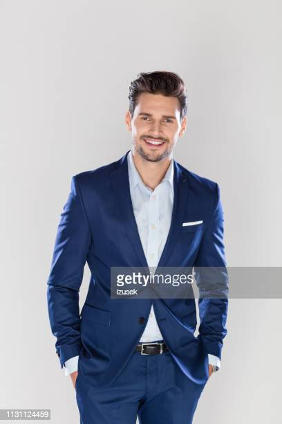 portrait of handsome young businessman - smart casual stock pictures, royalty-free photos & images