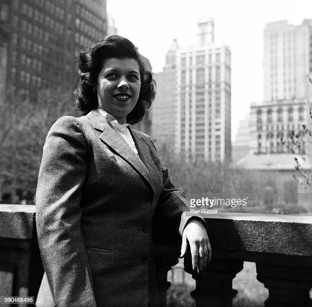 Portrait of Hanna Stein as she poses outside the New York Public Library overlooking Bryant Park New York New York 1944