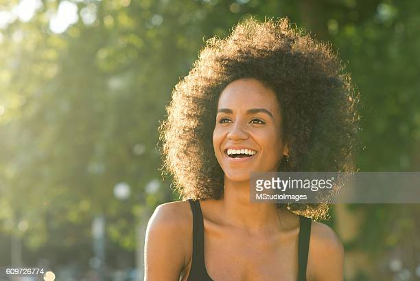Portrait of happy African American woman