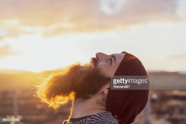 portrait of happy bearded man - blick nach oben stock-fotos und bilder