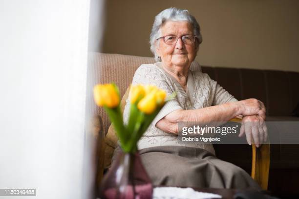 Portrait of happy beautiful grandmother at home.