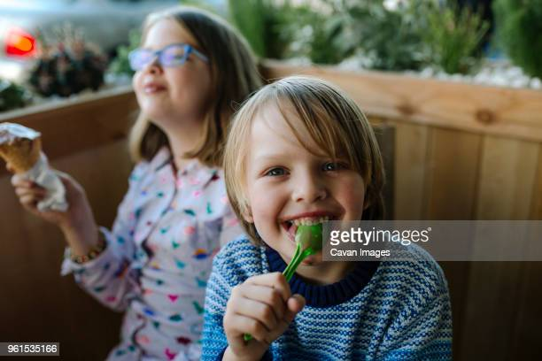 portrait of happy brother eating ice cream with sister in cafe - mezzo busto foto e immagini stock