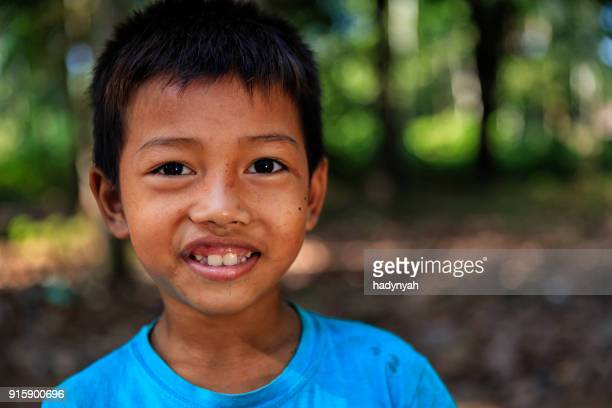 portrait of happy cambodian boy, cambodia - cambodian culture stock photos and pictures