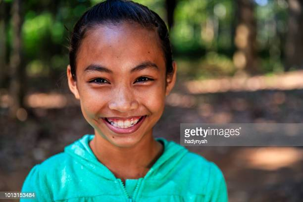 portrait of happy cambodian girl, cambodia - traditionally cambodian stock pictures, royalty-free photos & images