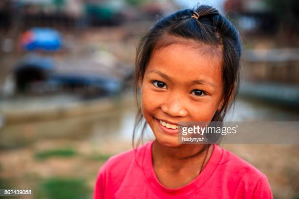 portrait of happy cambodian little girl, cambodia - cambodian culture stock photos and pictures