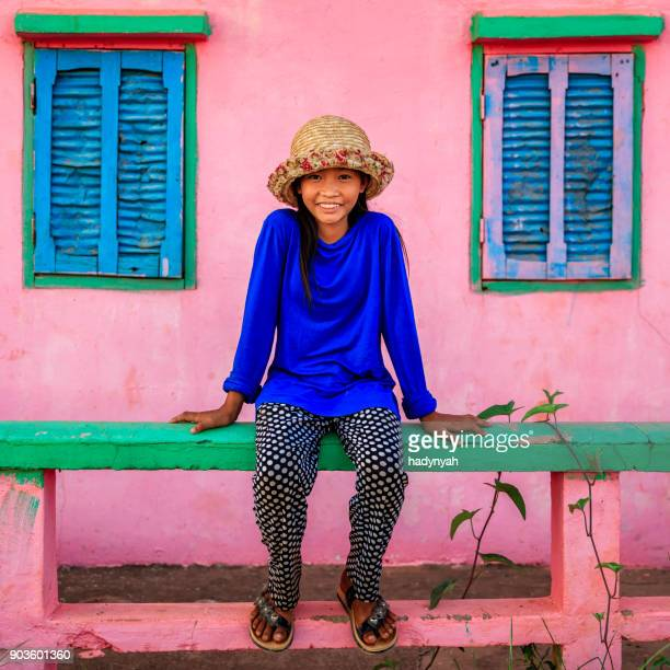 portrait of happy cambodian little girl, cambodia - traditionally cambodian stock pictures, royalty-free photos & images