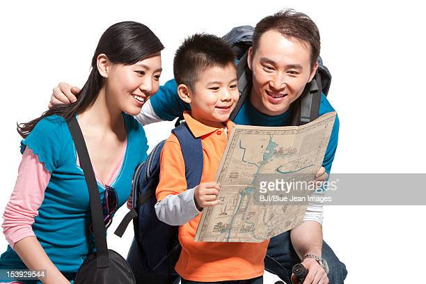 Portrait of happy family travelling