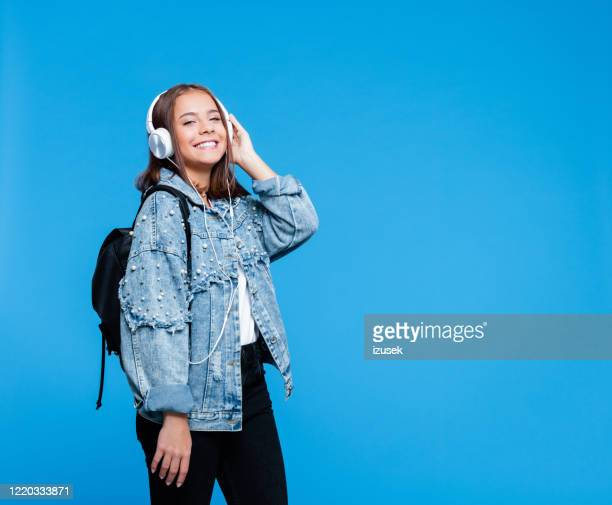 portrait of happy female high school student - adolescence stock pictures, royalty-free photos & images