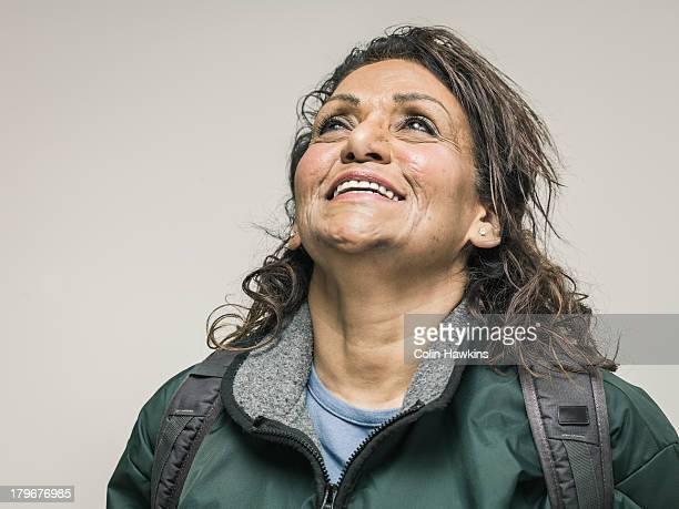Portrait of happy female hiker