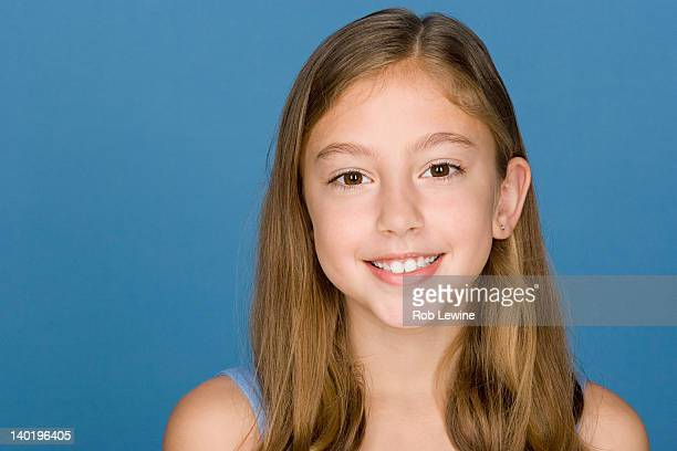 portrait of happy girl (8-9) - hair parting stock photos and pictures
