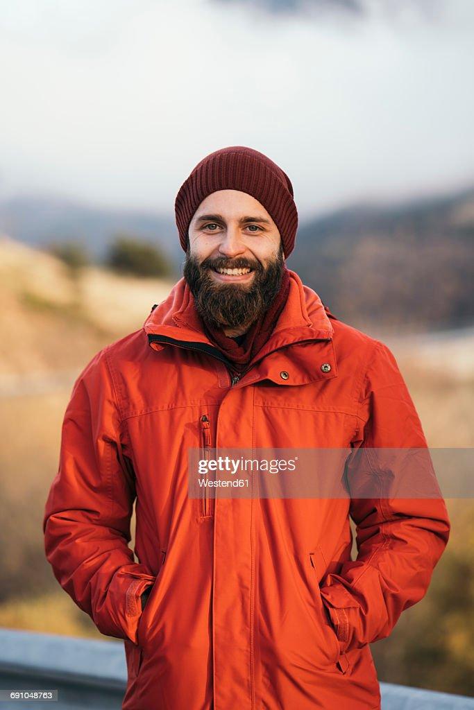 Portrait of happy hiker : Stock Photo