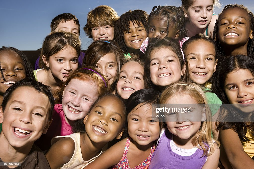 Portrait of happy kids, smiling, outdoors : Stock Photo