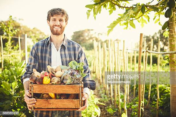 portrait of happy male carrying vegetables in crate at farm - karohemd stock-fotos und bilder