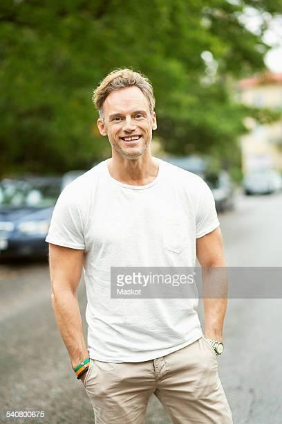 Portrait of happy man on street