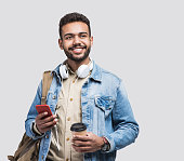 Portrait of happy man student going on a travel