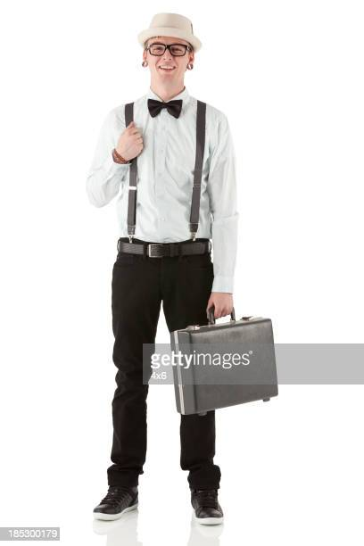 Portrait of happy man with a briefcase