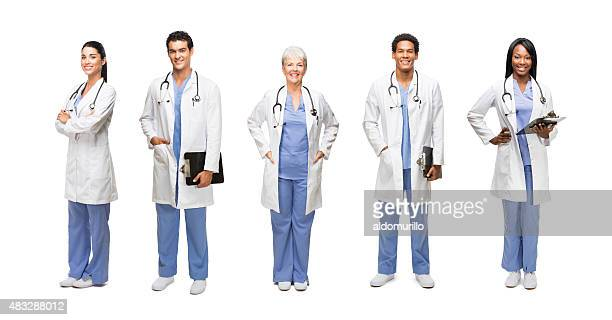 portrait of happy medical professionals - female doctor stock photos and pictures