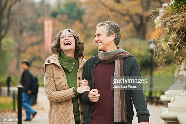 portrait of happy older couple in the park - health2010 ストックフォトと画像