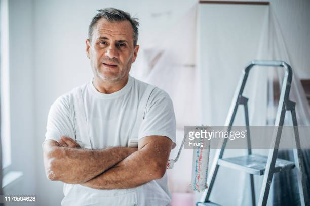 portrait of happy painter - eastern european stock pictures, royalty-free photos & images