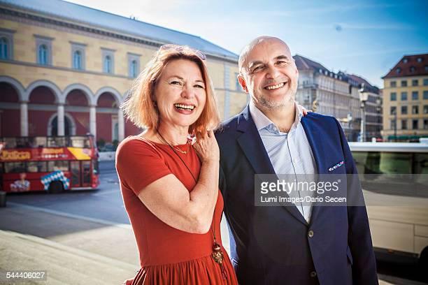 Portrait of happy senior couple, Munich, Bavaria, Germany