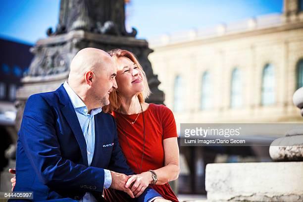Portrait of happy senior couple outdoors, Munich, Bavaria, Germany