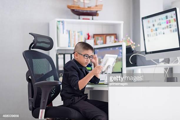 Portrait of happy smile little business boy
