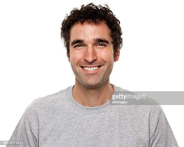 portrait of happy smiling man - curly stock pictures, royalty-free photos & images