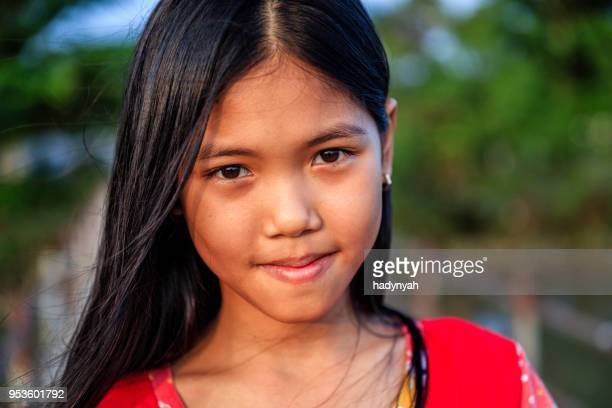 portrait of happy vietnamese young girl, mekong river delta, vietnam - traditionally vietnamese stock pictures, royalty-free photos & images