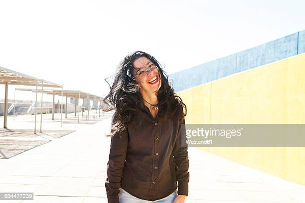 Portrait of happy woman outdoors