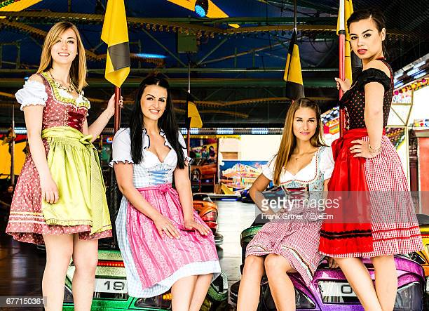 Portrait Of Happy Women In Dirndl At Oktoberfest