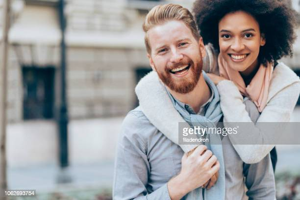 portrait happy young couple outdoor