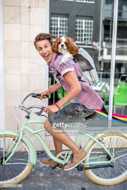 portrait of happy young man riding bicycle in the city with dog in backpack - velo humour photos et images de collection