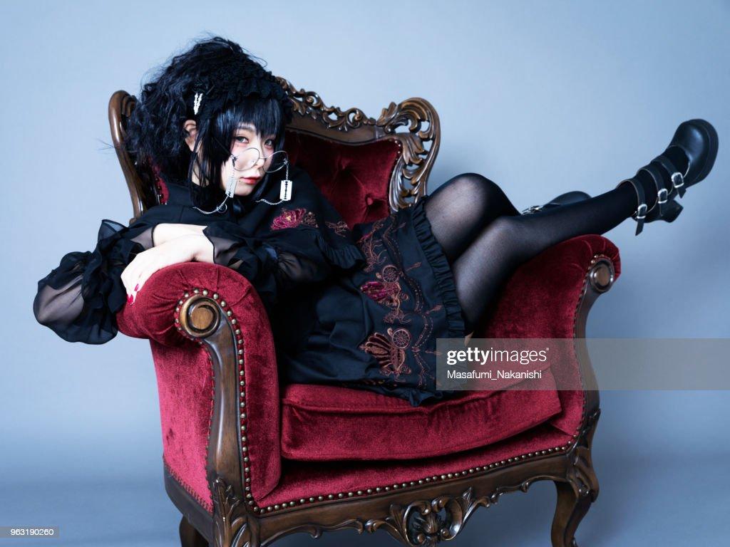 Portrait of Harajuku style young Japanese woman : Stock Photo