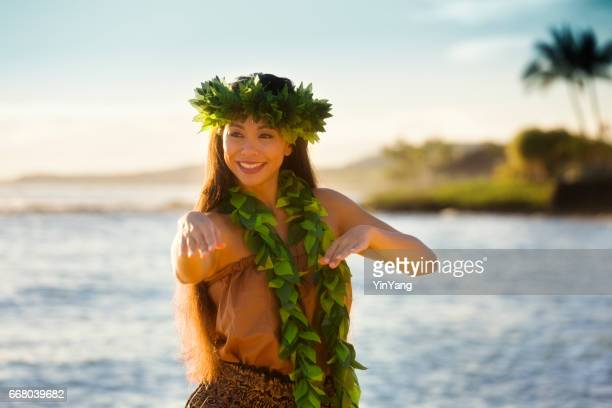Portrait of Hawaiian Hula Dancer Dancing on the Beach