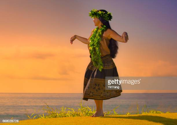 portrait of hawaiian hula dancer on the beach at sunset - hawaiian lei stock pictures, royalty-free photos & images