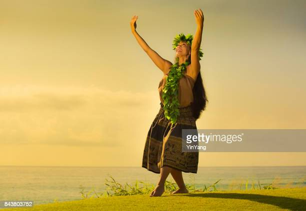 portrait of hawaiian hula dancer on the beach at sunset - hula dancer stock pictures, royalty-free photos & images