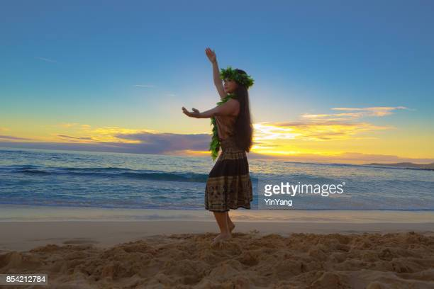 portrait of hawaiian hula dancer on the beach at sunset - polynesian dance stock photos and pictures