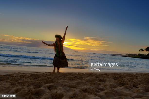 Portrait of Hawaiian Hula Dancer on the Beach at Sunset