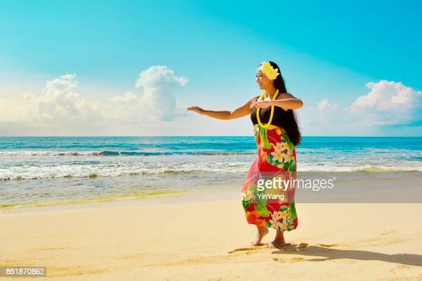 Portrait of Hawaiian Hula Dancer on the Beach