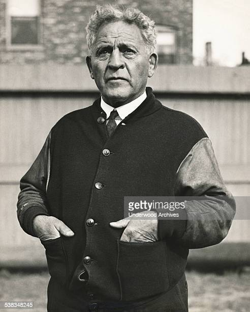 A portrait of head football coach Amos Alonzo Stagg in his 34th year at the University of Chicago in the Big Ten Conference Chicago Illinois...