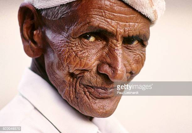 Portrait of heavily wrinkled Indian man
