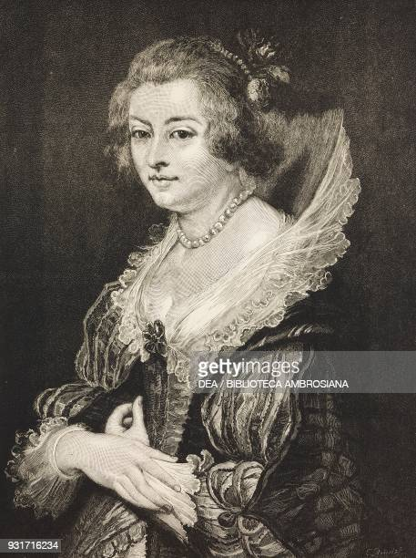 Portrait of Helena Fourment the second wife of Pieter Paul Rubens illustration from the magazine The Graphic volume XVI no 404 August 25 1877