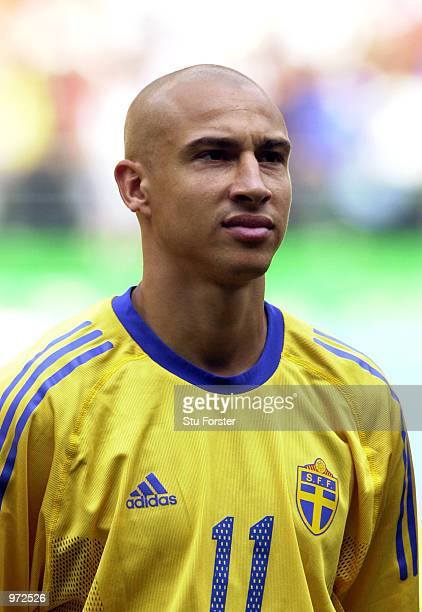 Portrait of Henrik Larsson of Sweden before the Sweden v Senagal, World Cup Second Round match played at the Oita Big Eye Stadium, Oita, Japan on...